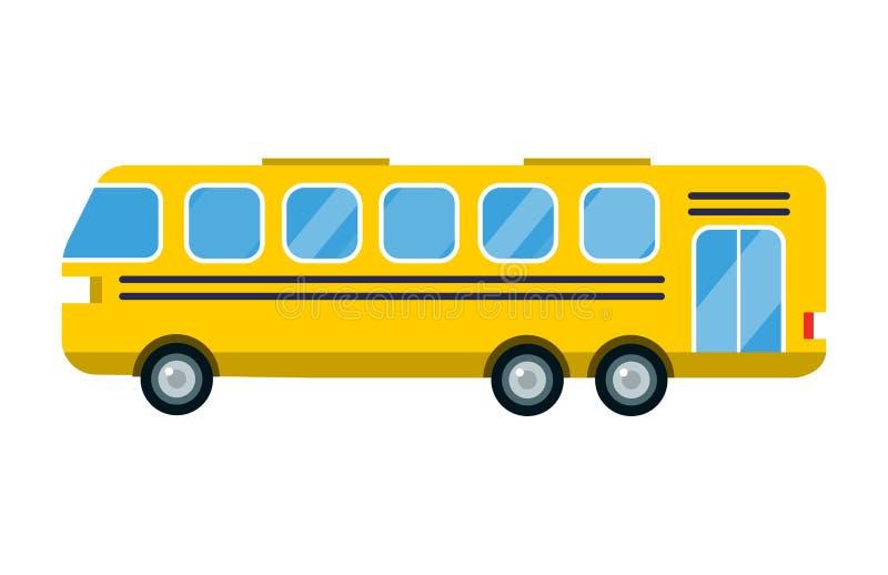 Des Busvektors der Stadt gelbe Straßentransportfahrzeugreisetransporttourismuspassagier-LKW-Schule Illustration lokalisierte lizenzfreie abbildung