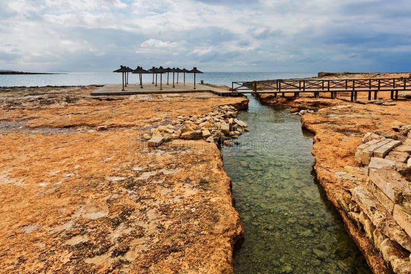 DES Cabots Playa Sa Bassa en tiempo melancólico Colonia Sant Jorge imágenes de archivo libres de regalías