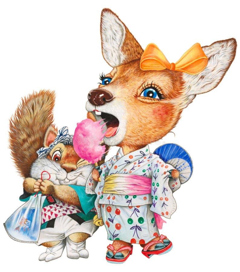 Des cerfs communs et un écureuil d'enfant au festival d'été illustration stock