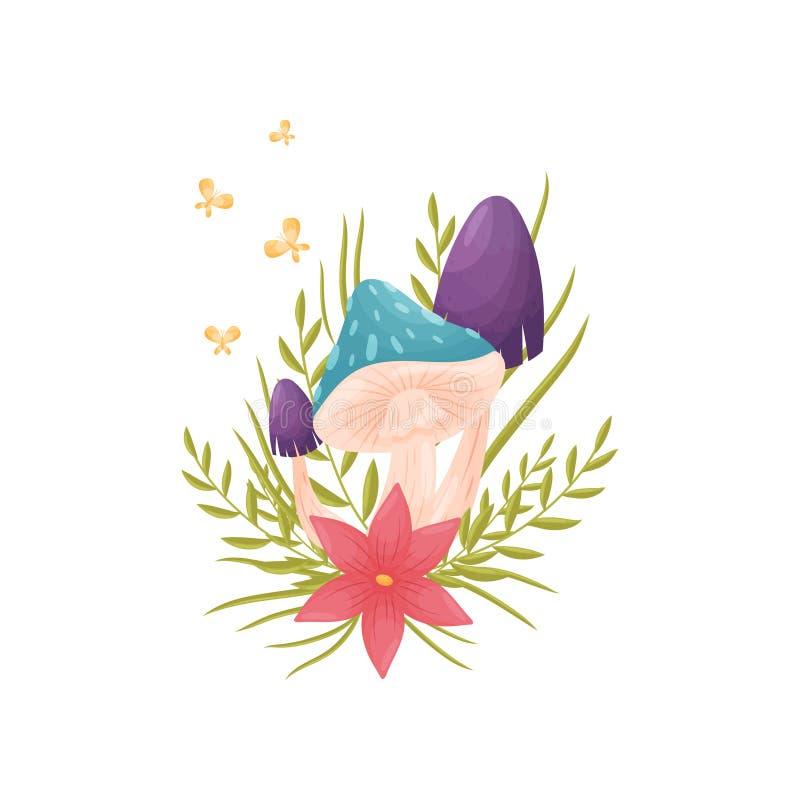Des champignons avec les chapeaux colorés sont décorés d'une fleur et d'une herbe roses Illustration de vecteur sur le fond blanc illustration stock
