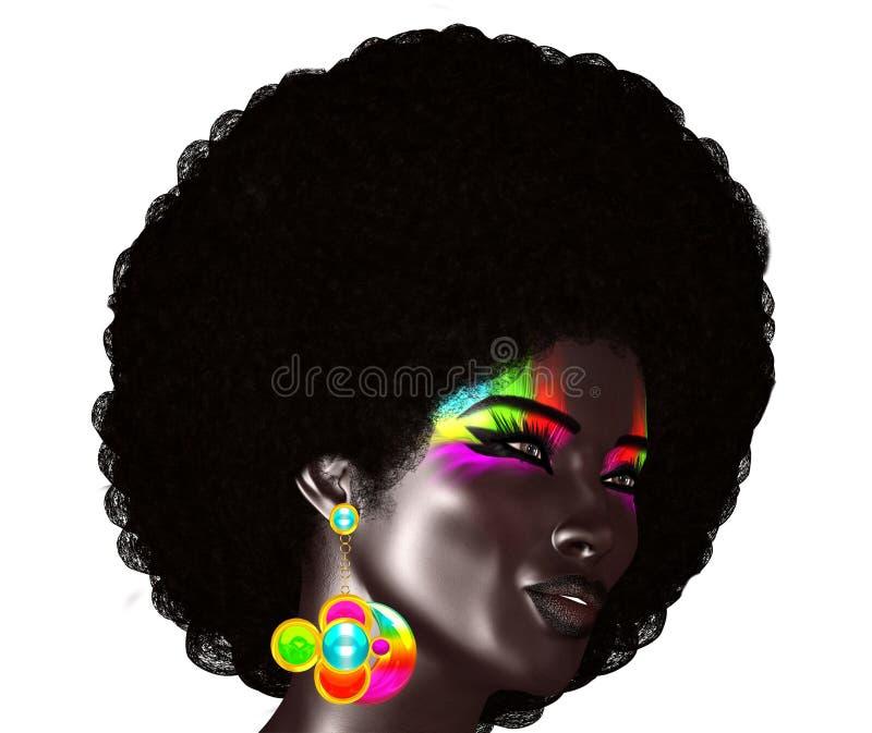 Des cheveux africains à la mode et bouclés sont portés par ce modèle 3d réaliste Elle pose devant un fond blanc d'isolement illustration libre de droits