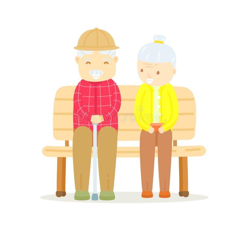 Des couples plus anciens se reposant sur le banc illustration libre de droits