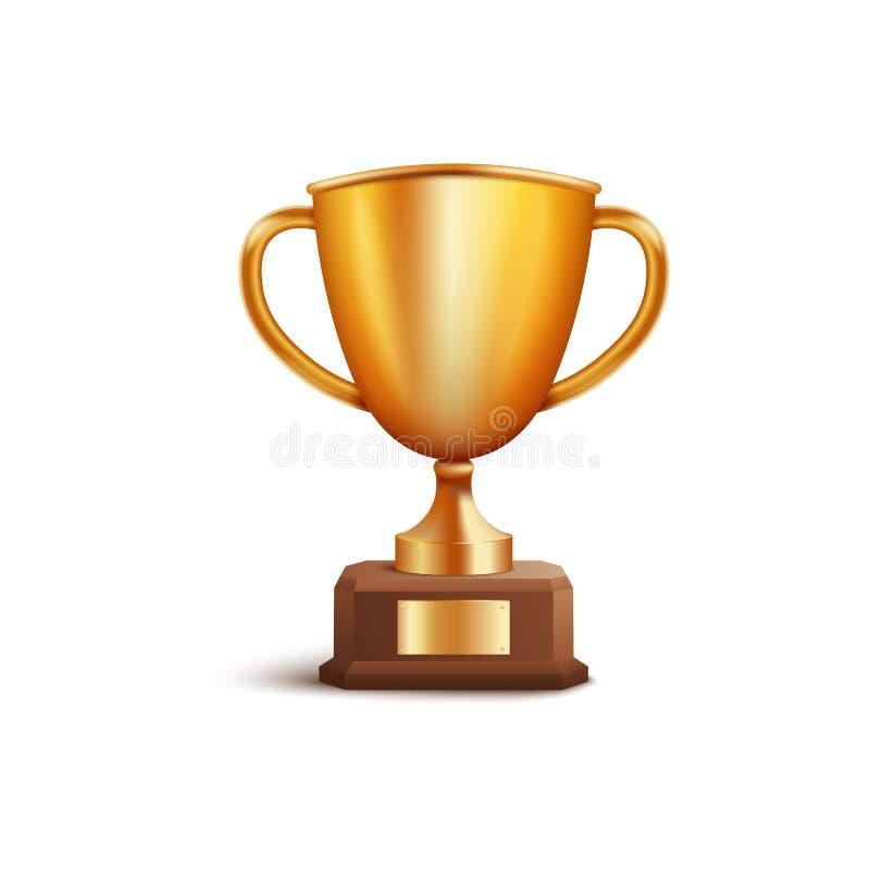Des Cup- oder Meisterpreises 3d des goldenen Siegerpreises Erstplatz- Vektor lokalisiert auf Weiß vektor abbildung