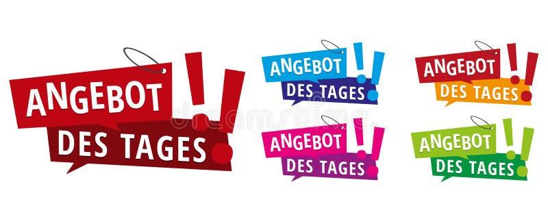 DES d'Angebot étiqueté - vente des labels de bannières de jour illustration libre de droits