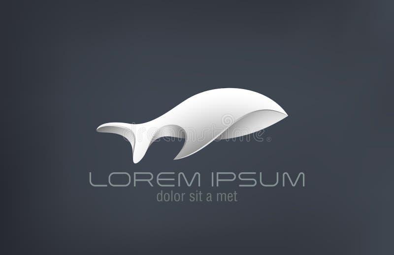 DES di lusso di vettore dell'estratto del pesce del metallo dei gioielli di logo illustrazione vettoriale