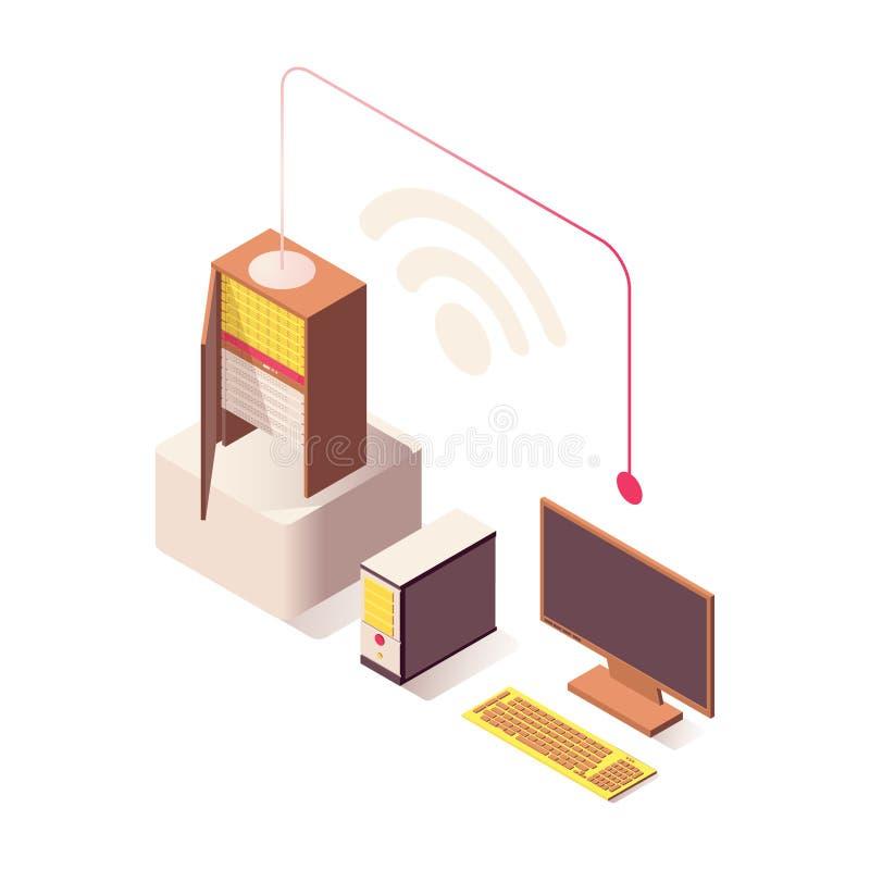 Des drahtlosen isometrische Illustration Verbindungs-Vektors Wifi Computer angeschlossen an den Internet-Server, online bewirtend lizenzfreie abbildung