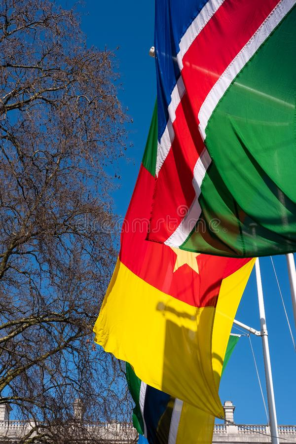 Des drapeaux volent sur Parliament Square à Londres le 13 mars 2016 image libre de droits