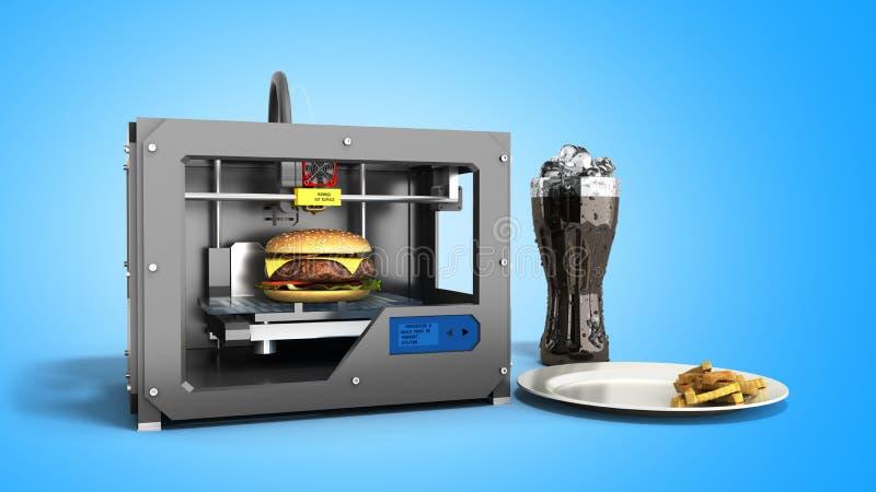 des Druckburgers 3d des Druckers 3D Wiedergabe auf Blau stock abbildung