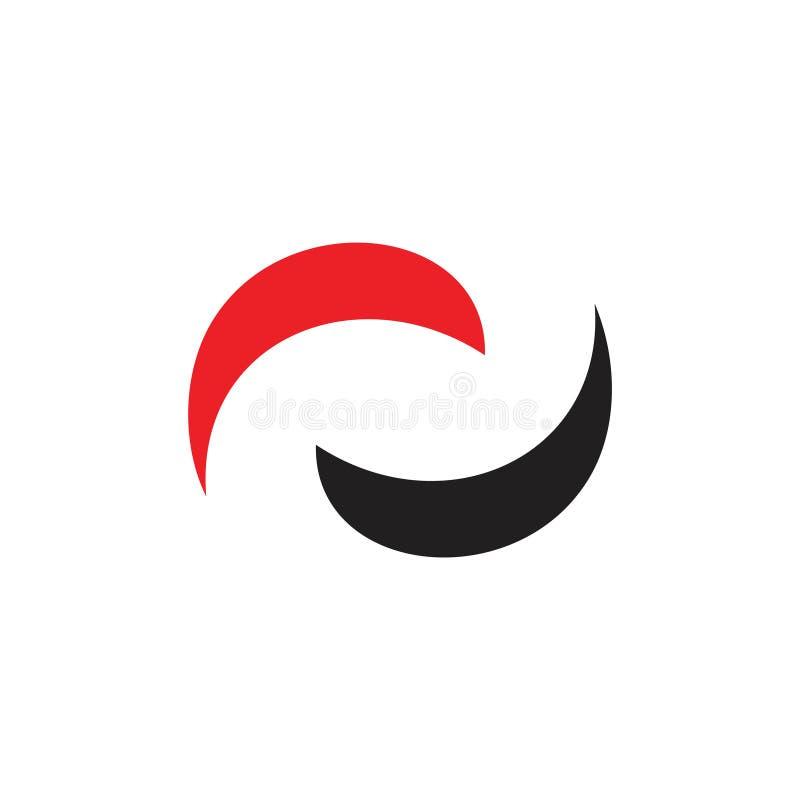 Des einfachen geometrischer Logovektor Bewegungskreises mit zwei Kurven stock abbildung