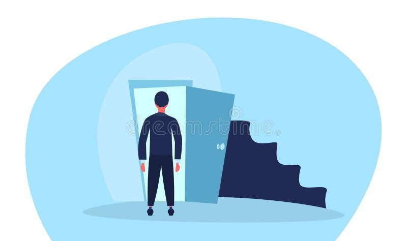 Des Eingangs-Geschäftsmannes der offenen Tür des Geschäftsmannes stehendes Gelegenheitskarriere-Leiterkonzept der hinteren Ansich vektor abbildung