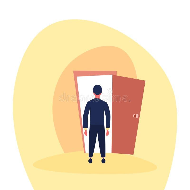 Des Eingangs-Geschäftsmannes der offenen Tür des Geschäftsmannes zukünftiges Konzept der stehenden Gelegenheit der hinteren Ansic stock abbildung