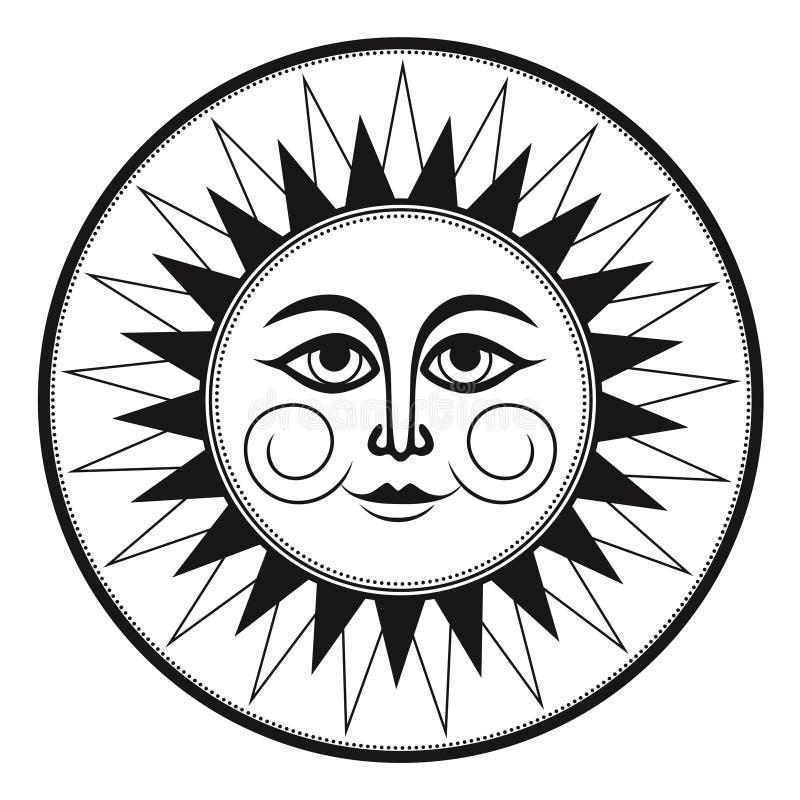 Des ethnischen geheimnisvolle lächelnde Sonne Verzierungs-Schwarzweiss-Freskos der Weinlese stockbilder