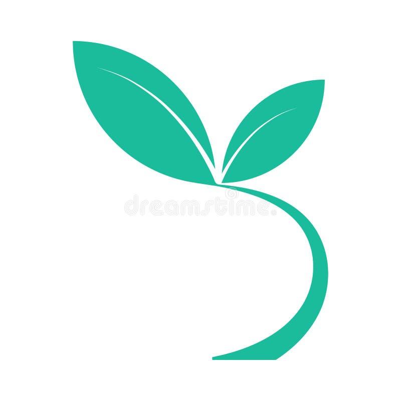Des feuilles d'élément, la tige est courbées du fond avec deux feuilles illustration libre de droits