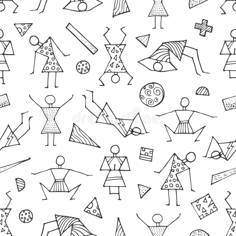Des figures en bâtons invisibles font du yoga, de la gymnastique, du sport Comprend de petits éléments géométriques Vie saine illustration de vecteur