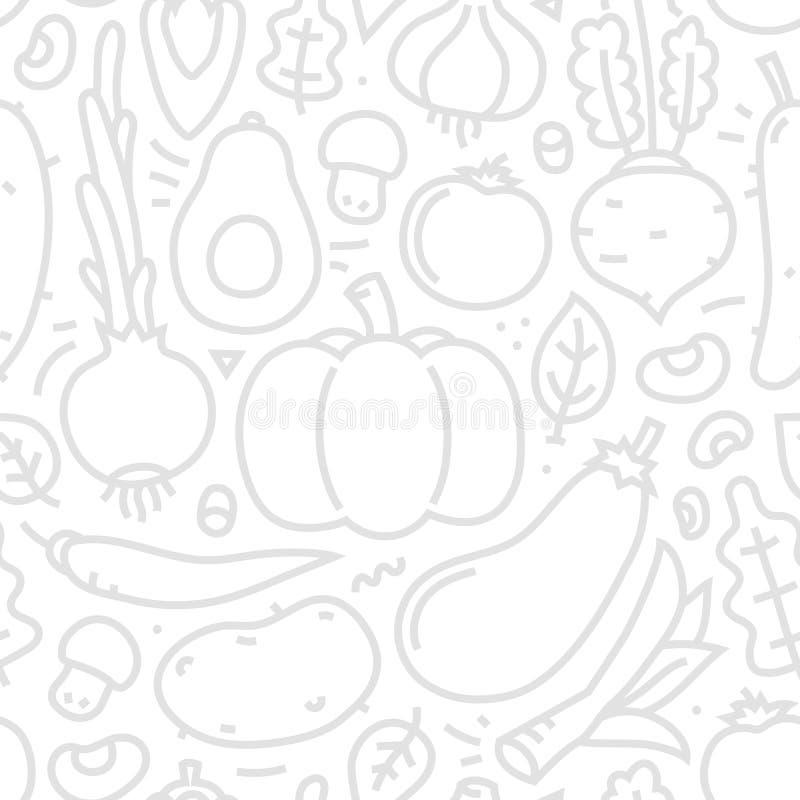 Des flachen nahtloses Vektormuster Art-Gemüses Lineart auf weißem Hintergrund stockfotografie