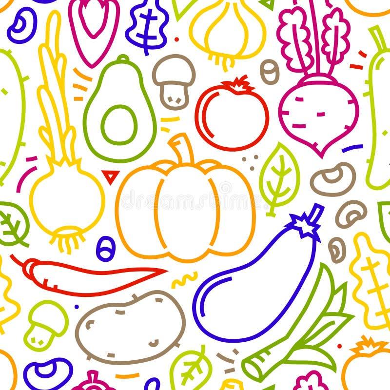 Des flachen nahtloses Vektormuster Art-Gemüses Lineart auf weißem Hintergrund stockfotos