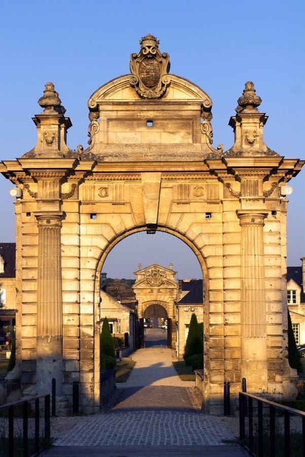 Des Franco-amerikanischen französisches amerikanisches Schloss Freundschaft Museumseingangs Blérancourt lizenzfreie stockfotografie