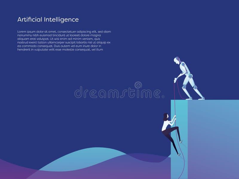 Des Frauenaufstiegs des Roboters der künstlichen Intelligenz helfendes höheres Vektorkonzept Symbol von Hilfe, von Hilfe und von  lizenzfreie abbildung