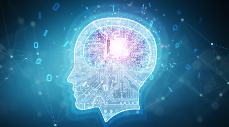 Des Gehirnhintergrundes 3D der künstlichen Intelligenz digitale Wiedergabe vektor abbildung