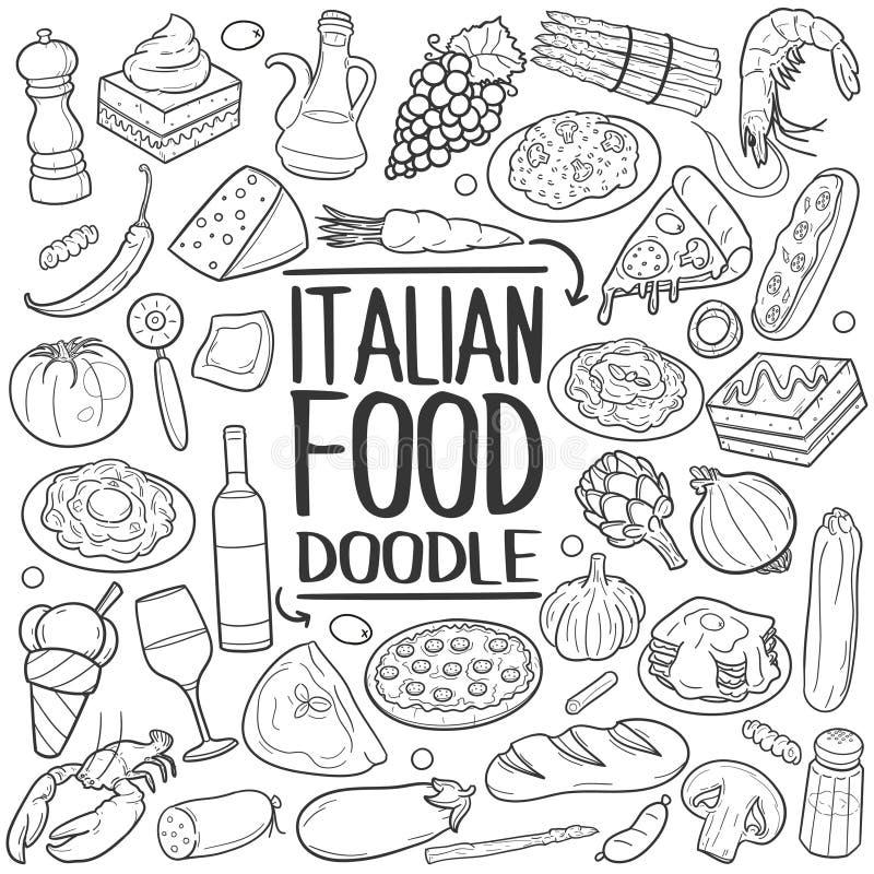 Des Gekritzelikonenhandabgehobenen betrages des italienischen Lebensmittels traditioneller Satz stockbild