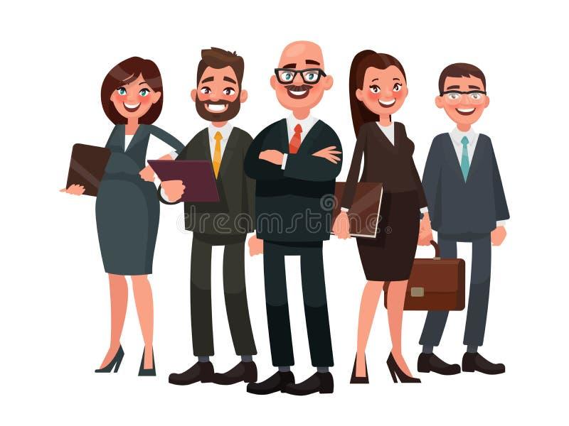 Des gens d'affaires sont menés par un chef Illustration de vecteur dans le chariot illustration libre de droits