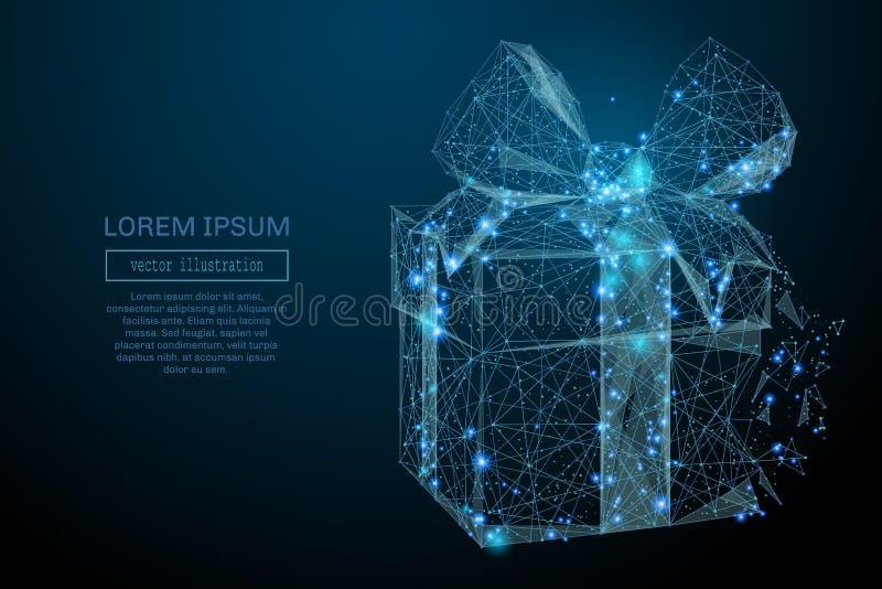 Des Geschenks Polyblau niedrig vektor abbildung