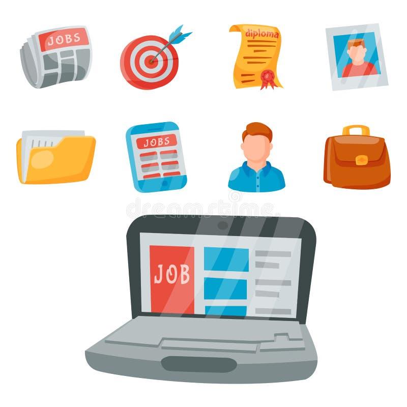 Des gesetzten Einstellungsbeschäftigungs-Arbeitsillustration Bürokonzeptes der Vektorjobsucheikone menschliche lizenzfreie abbildung