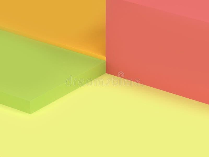 des grünen minimale Ecke 3d Wandboden-Quadrats des Hintergrundes 3d übertragen vektor abbildung