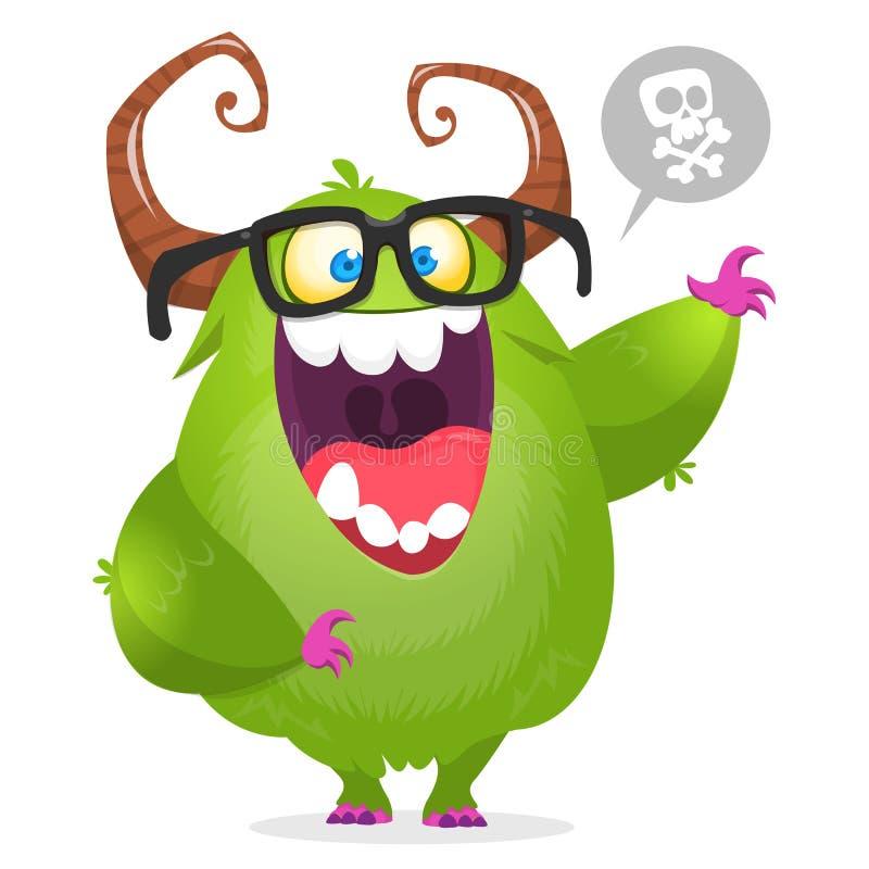 Des grünen tragende Gläser Monster-Sonderlings der Karikatur Vektor-Halloween-Illustration lokalisiert vektor abbildung