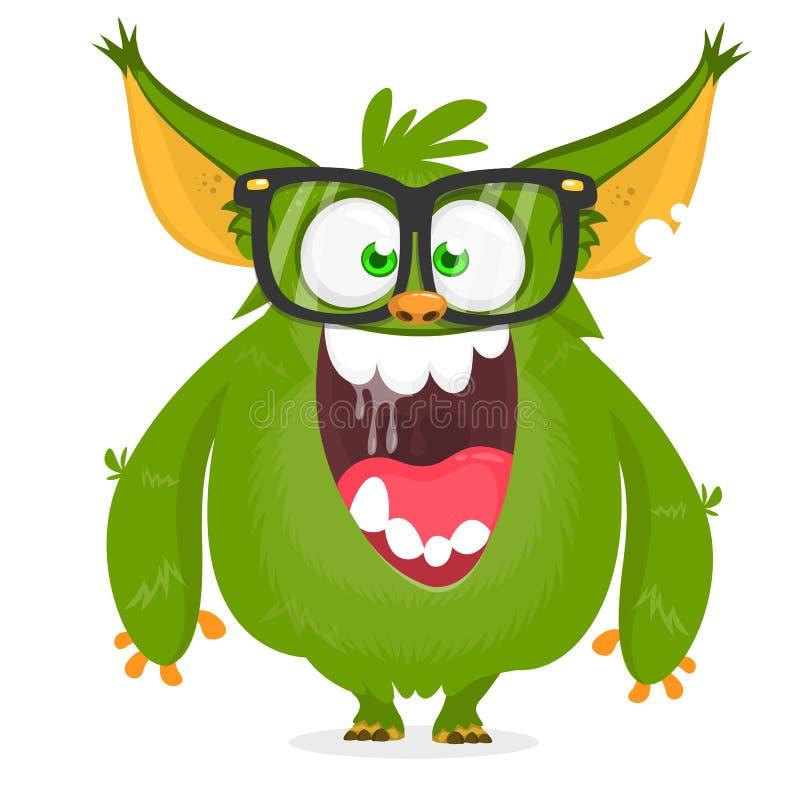 Des grünen tragende Gläser Monster-Sonderlings der Karikatur Vektorabbildung getrennt stock abbildung