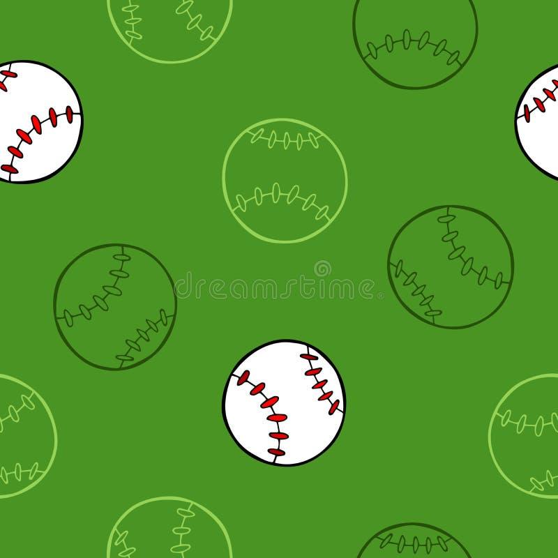Des Grünhintergrundes der grafischen Kunst des Baseballsportballs nahtlose Musterillustration stock abbildung
