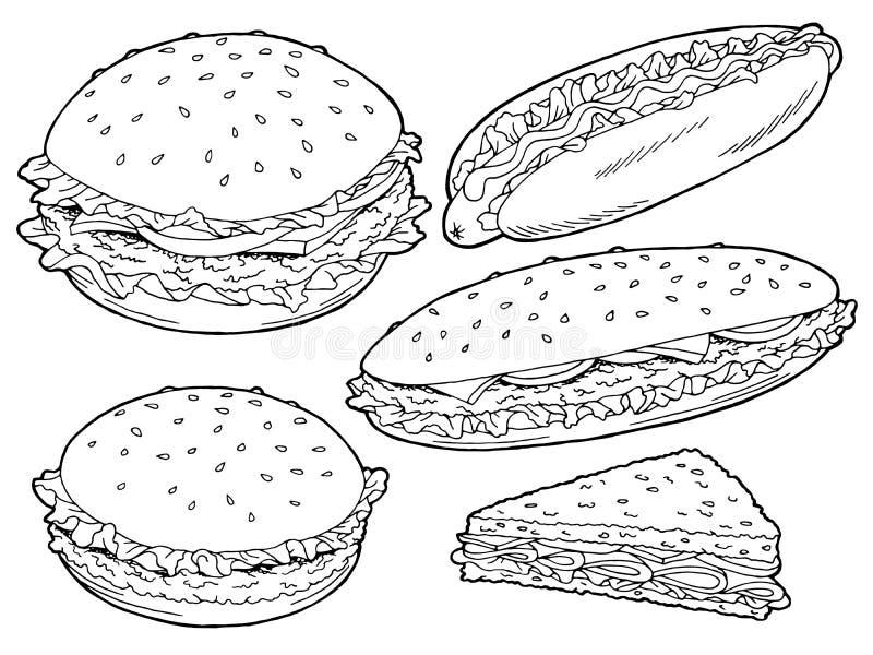 Des grafischen lokalisierte weißer Skizzensatz Schnellimbissschwarzen des Hamburgers Illustration lizenzfreie abbildung