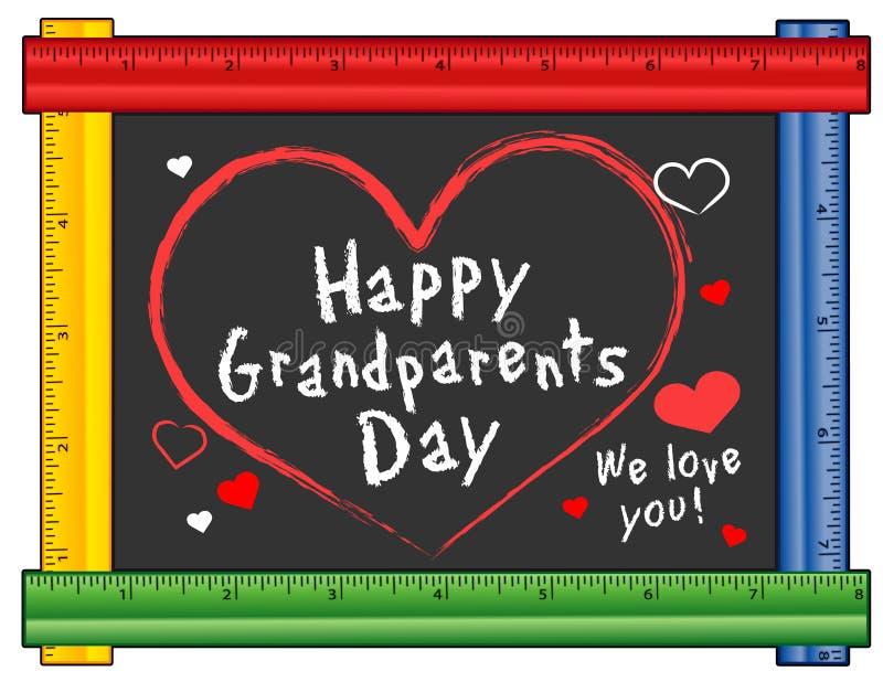 Des grands-parents jour, coeurs, nous vous aimons ! Cadre de règle illustration libre de droits