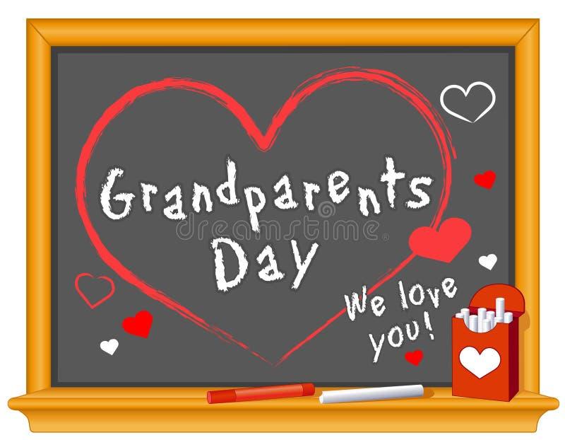 Des grands-parents jour, nous vous aimons des coeurs ! Cadre de tableau illustration libre de droits
