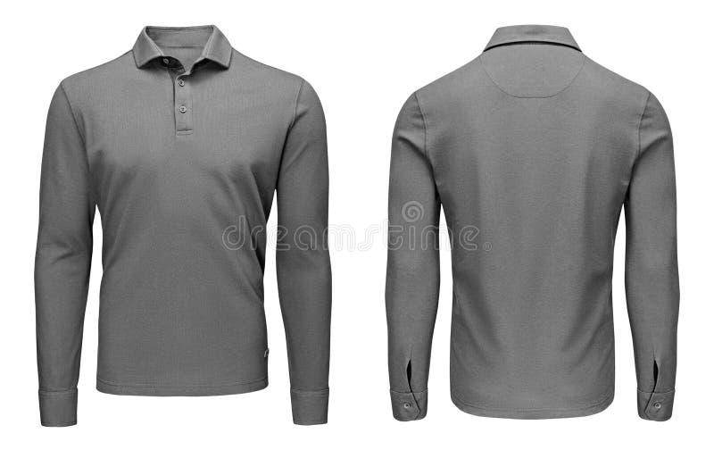 Des grauen langärmlige, vordere und hintere Ansicht Polohemdes der leeren Schablonenmänner, weißer Hintergrund Designsweatshirtmo stockbilder