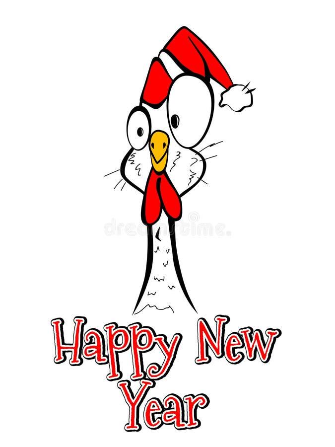 Des guten Rutsch ins Neue Jahr-Hühnerhahns der frohen Weihnachten komisches lustiges vektor abbildung