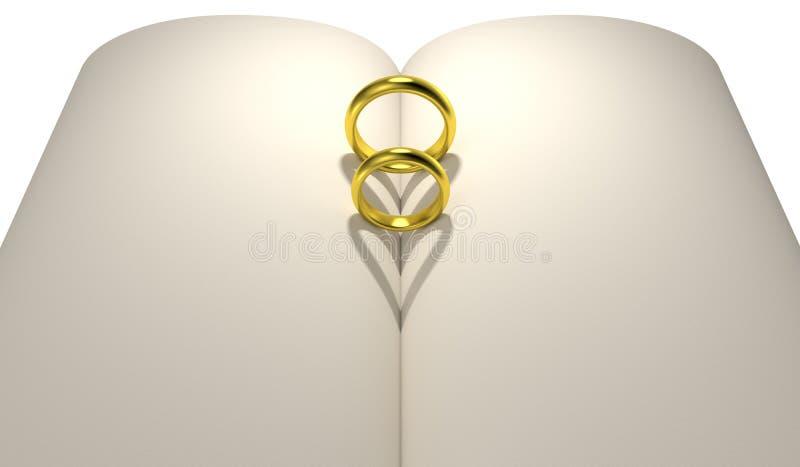 Des Herzformschatten-freien Raumes mit zwei Ringen Buch lizenzfreie abbildung