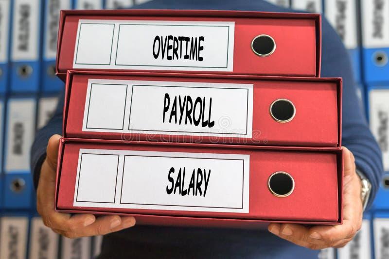 Des heures supplémentaires, feuille de paie, salaire, mots de concept Concept de dépliant Anneau b photos stock