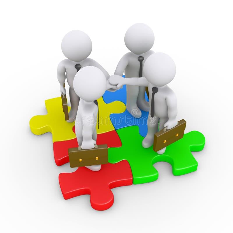 Des hommes d'affaires sont reliés aux morceaux de puzzle illustration libre de droits