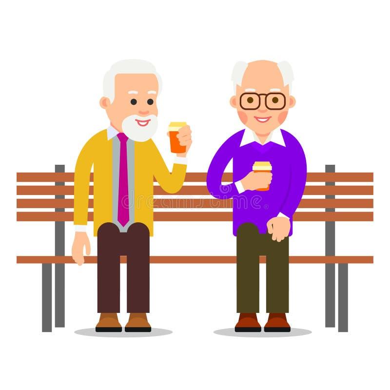Des hommes plus âgés s'asseyent sur un café de banc et de boissons Les vieux hommes passent le temps libre dans la communication  illustration libre de droits
