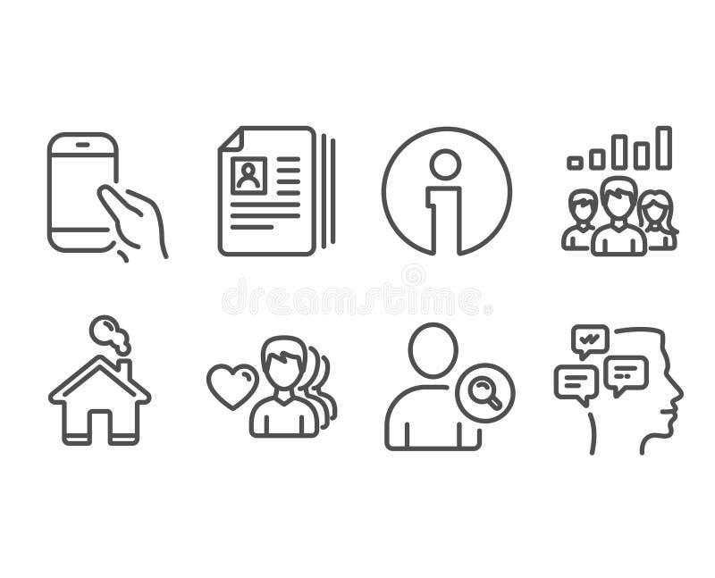 Des icônes équipez l'amour, l'utilisateur de découverte et de cv documents Résultats de travail d'équipe, smartphone de prise et  illustration libre de droits
