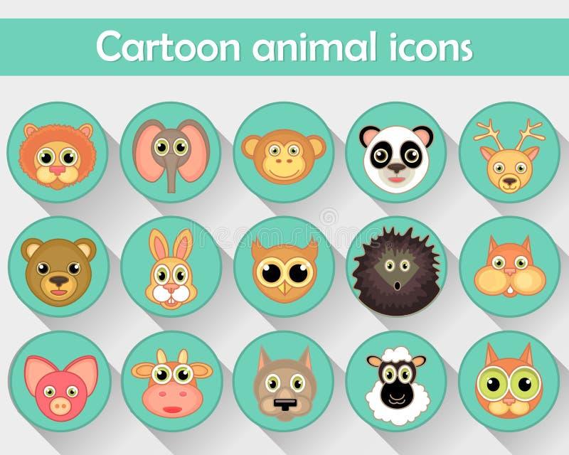 Des icônes linéaires plates des animaux familiers, des animaux de forêt et des zoos sont isolées en cercle illustration stock
