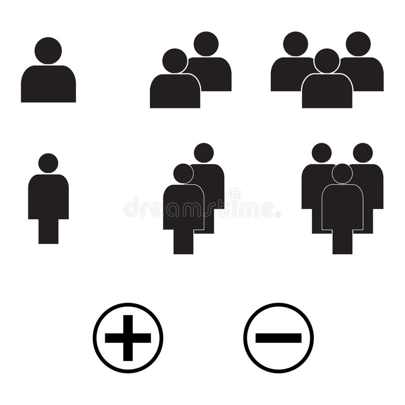 Des Ikonen-Vektors Eps10 Art der Leute minimaler Satz stock abbildung