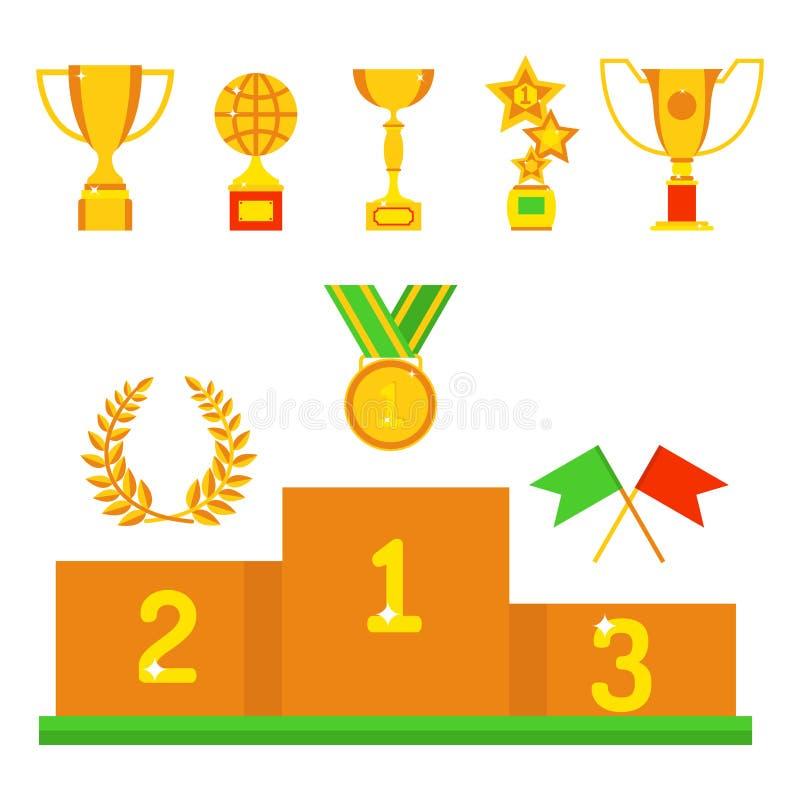 Des Ikonensiegergoldpreises und -sieges des Vektortrophäen-Meistercups flache des Sporterfolgs goldene Führung des prize Gewinns  stock abbildung