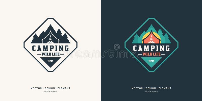 Des im Freien Retro- Logo Kampierens und Abenteuers vektor abbildung