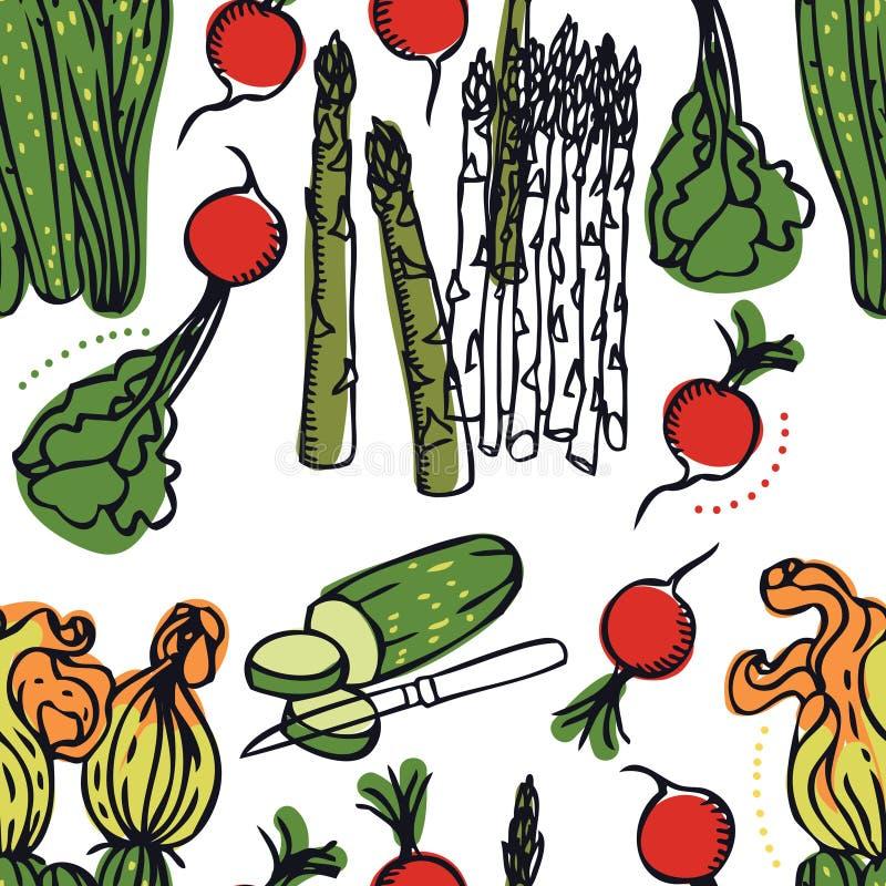 Des köstlichen nahtloses Muster Frühlings-Salats der Lebensmittel-Sammlung lizenzfreie abbildung