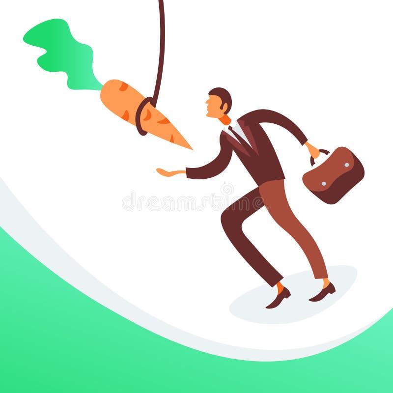 Des Karottengeschäftsmotivationszielkonzeptes des Geschäftsmannes laufende hängende flache Mannzeichentrickfilm-figur in voller L lizenzfreie abbildung