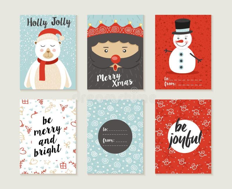 Des Kartensatz-Musters der frohen Weihnachten Retro- netter Bär stock abbildung