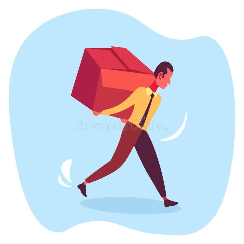 Des Kastenlieferungspaketservicekonzeptmannkuriers des Geschäftsmannes tragende männliche Zeichentrickfilm-Figur des hart arbeite lizenzfreie abbildung