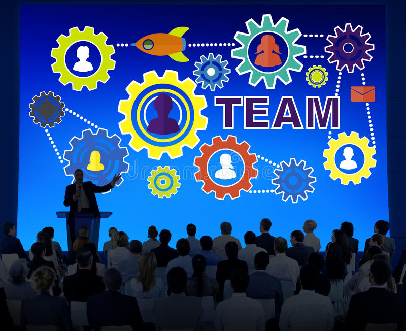Des Konferenz-Seminar-Geschäftsleute Gang-Unternehmens-Team Concept vektor abbildung